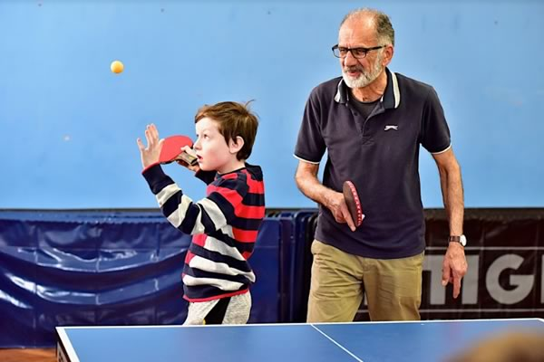 Mehdi and young player at Brighton Table Tennis Club